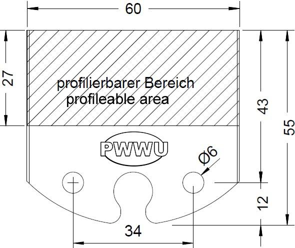 Profilmesserblankett 60mm von PWWU