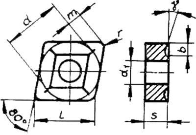 Skizze der Grundform der Wendeschneidplatte CNUM