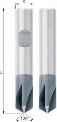 VHM Fasefräser 120° 4Z unbeschichtet oder mit TiAlN Beschichtung zum Entgraten, Fasen oder Anbohren im Rechtslauf