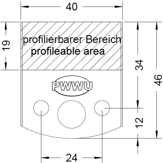Profilmesser für den 40mm Universal Sicherheits Messerkopf als Sonderanfertigung