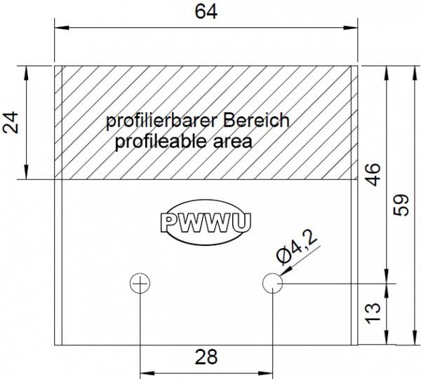 PWWU-Profilmesser für 64mm Universal-Sicherheits-Messerköpfe System Guhdo / Gold / Flury
