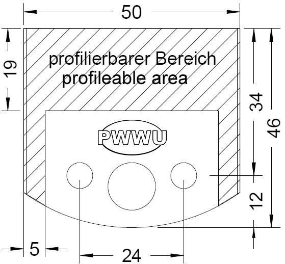 Sonderprofilmesser für den 50 mm Universal - Sicherheits - Fräskopf