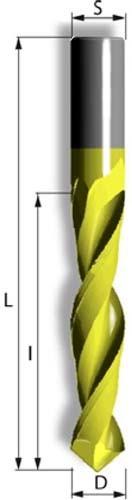 VHM Bohrfräser mit 2 positiv spiraligen Schneiden, Einbohrspitze zum Bohren und Fräsen